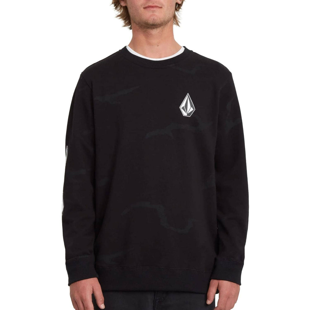 Volcom Deadly Stones Crew Black Combo - Mens Crew Neck Sweatshirt by Volcom