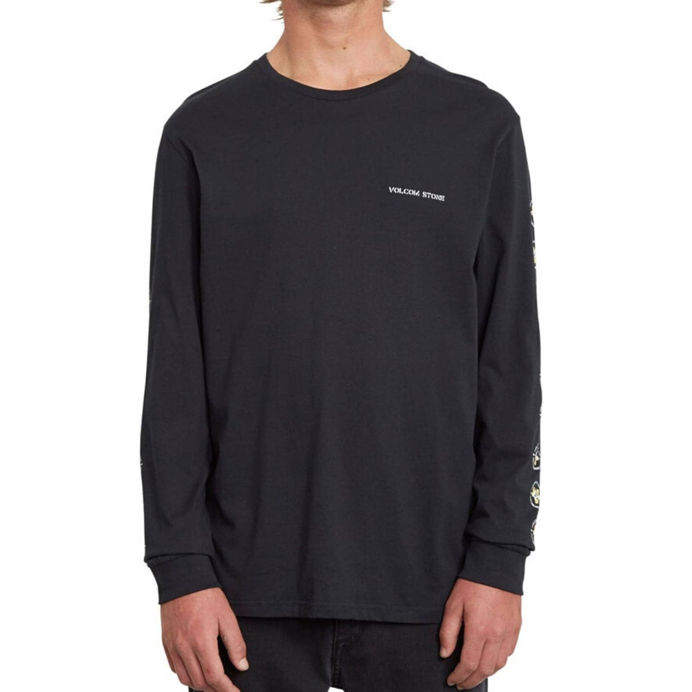 Volcom Fence L/S T-Shirt Black - Mens Plain T-Shirt by Volcom