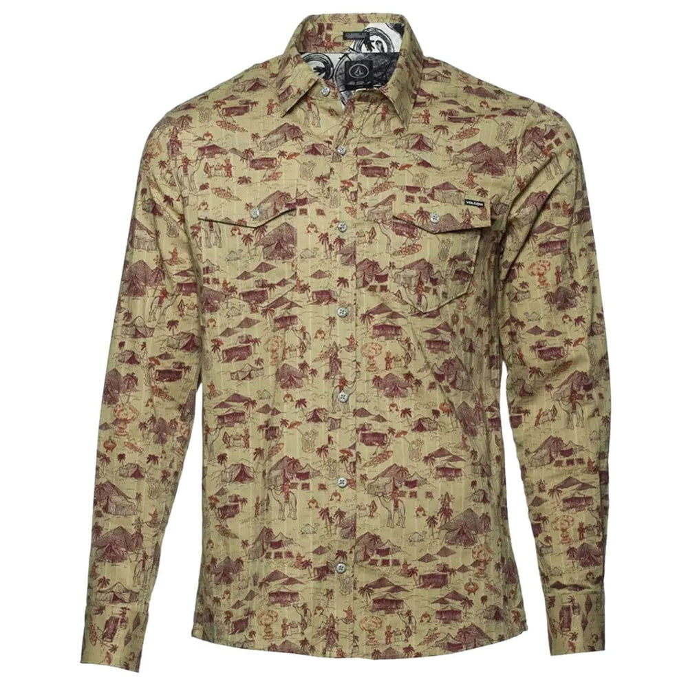 Volcom Mens Cairo Long Sleeve Shirt - Drill Khaki - Mens Casual Shirt by Volcom