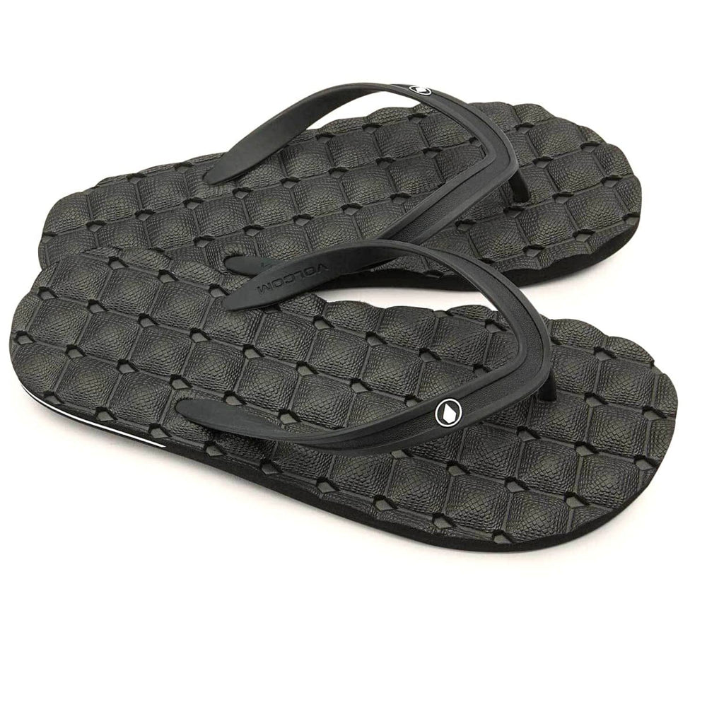 Volcom Recliner 2 Rubber Sandal Black - Mens Flip Flops by Volcom