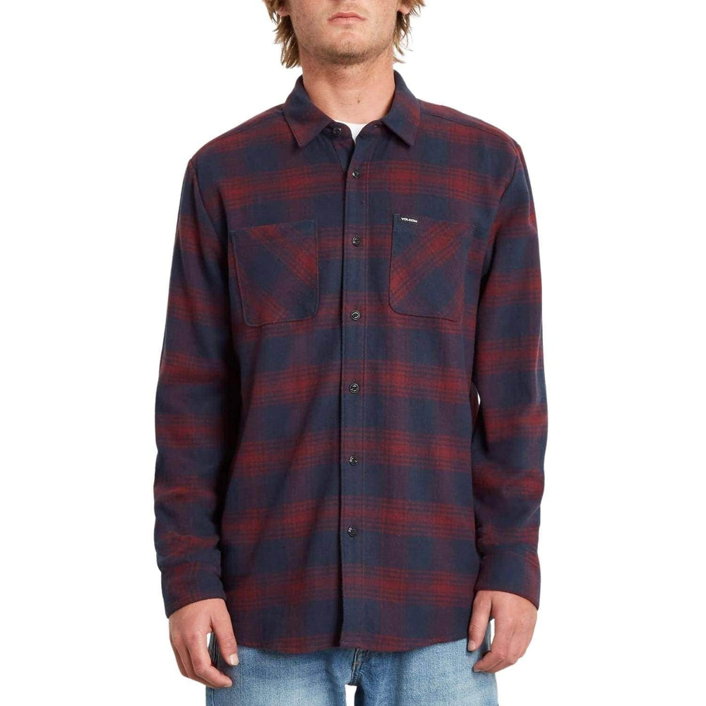 Volcom Tone Stone L/S Shirt - Navy - Mens Flannel Shirt by Volcom
