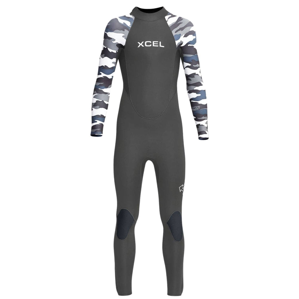 Xcel Kids Axis 3/2mm 2020 Back Zip Youth Wetsuit Graphite Camo - Kids Full Length Wetsuit by Xcel