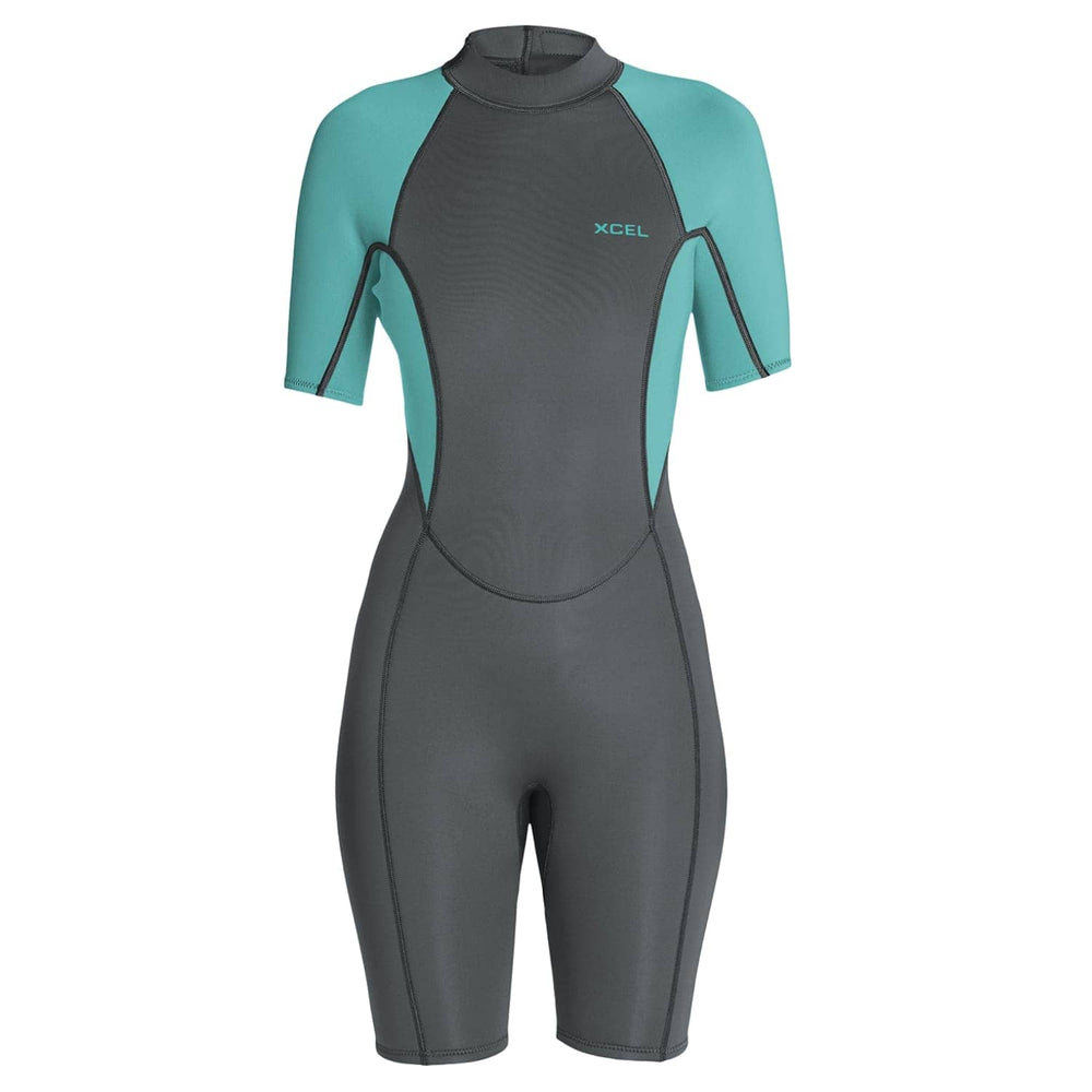 Xcel Womens Axis 2mm Shortie Wetsuit Graphite Pistachio - Womens Shorty/Spring Wetsuit by Xcel