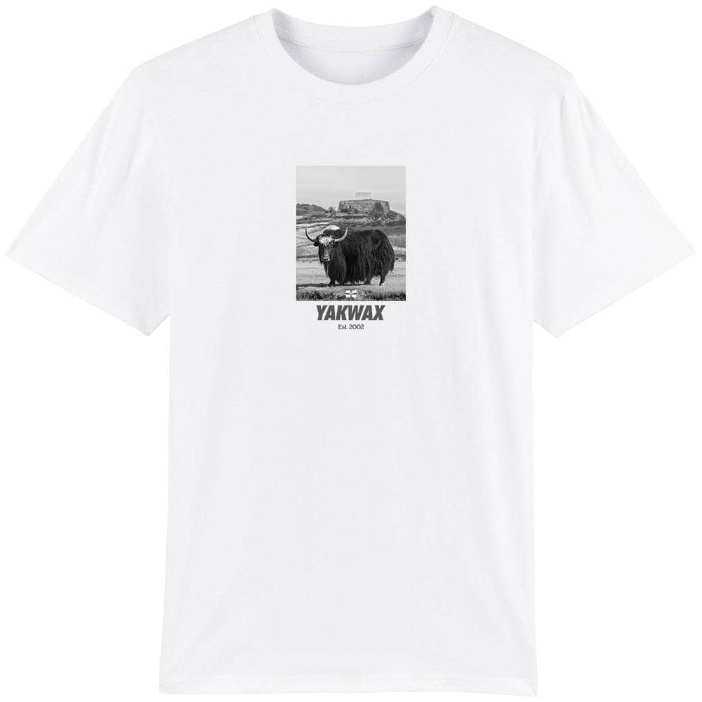 Yakwax Fort Grey T-Shirt White Mens Graphic T-Shirt by Yakwax
