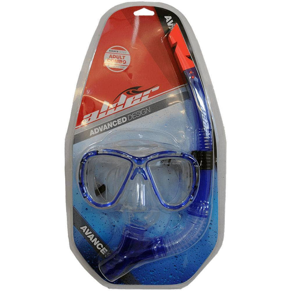 Alder Advance Adult Combo Snorkel and Mask Blue O/S (one size) Snorkeling Gear by Alder