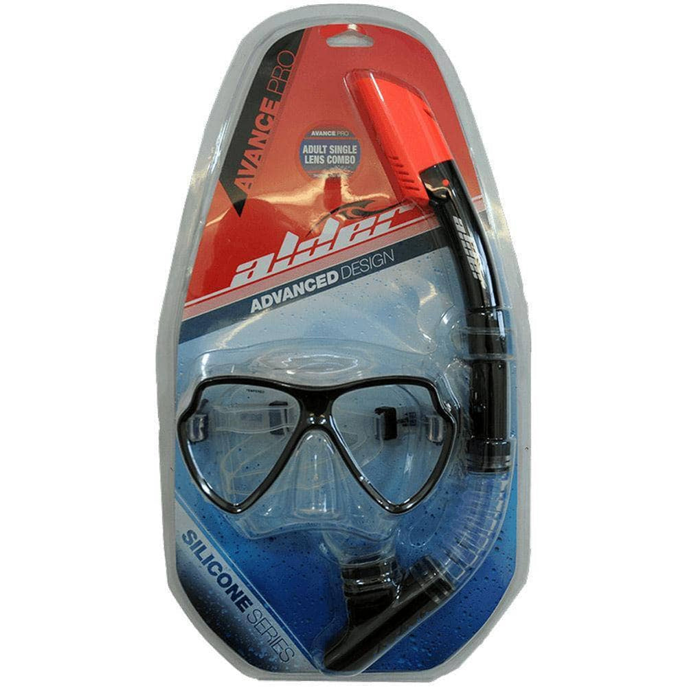 Alder Advance Pro Twin Lens Combo Snorkel and Mask Black O/S (one size) Snorkeling Gear by Alder