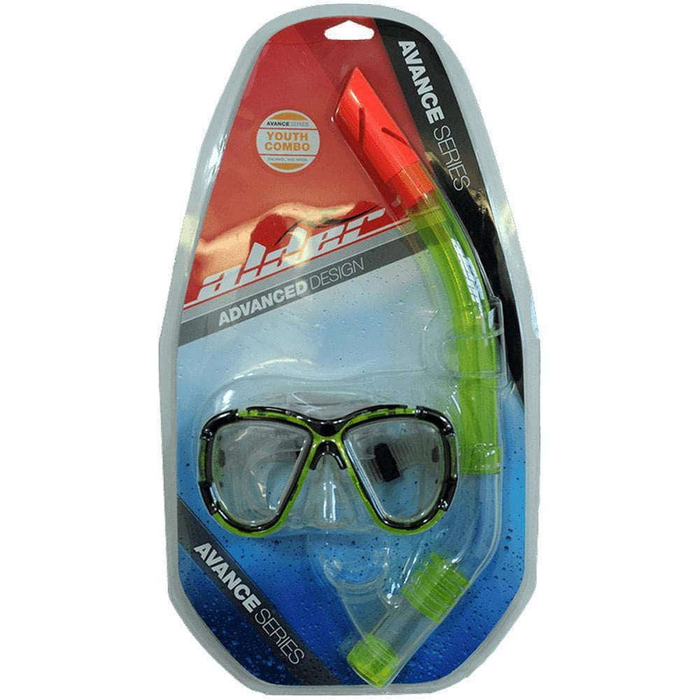 Alder Snorkeling Gear Alder Advance Youth Combo Snorkel and Mask Green O/S (one size)