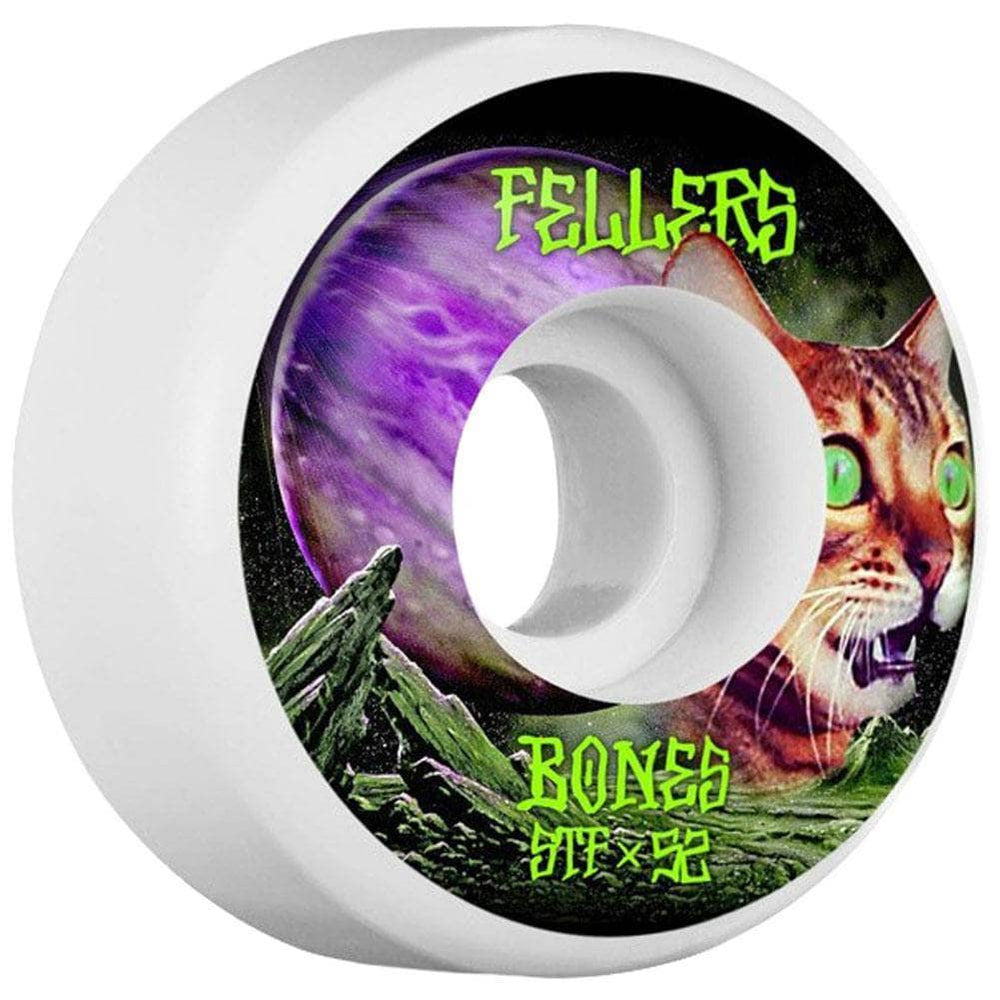 Bones Skateboard Wheels Bones Fellers Galaxy Cat 52mm STF Skate Wheels White 52mm