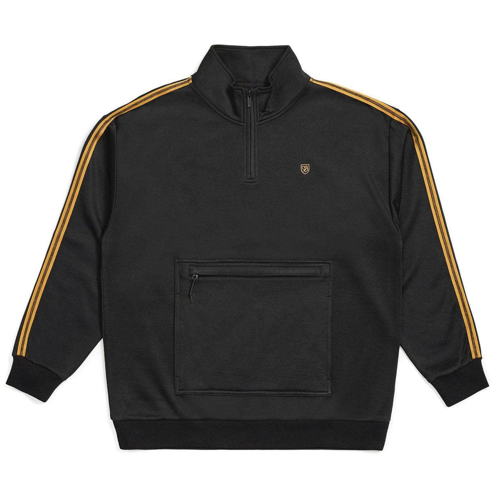 Brixton B-Shield III 1/2 Zip Pullover - Black Mens Pullover Hoodie by Brixton
