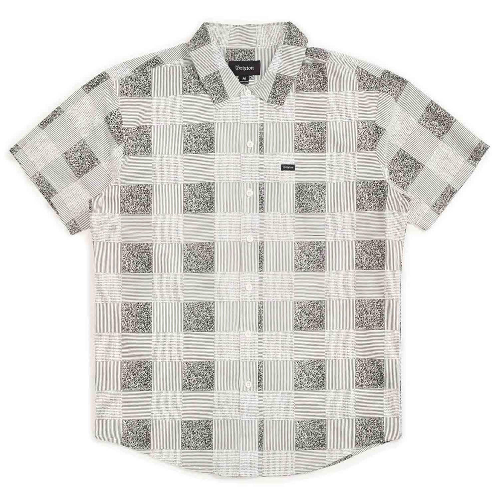 Brixton Charter Plaid S/S Woven Shirt - White Black Mens Casual Shirt by Brixton