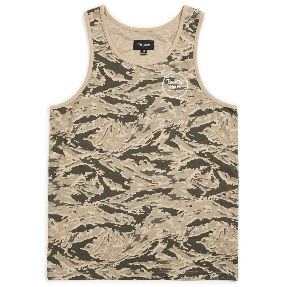Brixton Wheeler Tank Top Vest - Digi Tiger Camo Mens Surf Brand Vest/Tank Top by Brixton