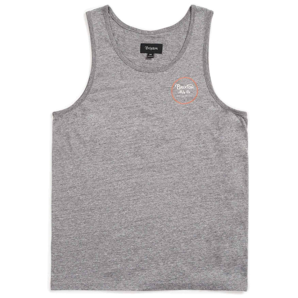 Brixton Wheeler Tank Top Vest - Heather Grey Henna Mens Surf Brand Vest/Tank Top by Brixton