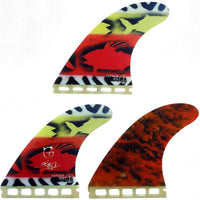 Captain Fin Co Tanner G Lava Flow Futures Large Honeycomb Surfboard Fins, Red Futures Single Tab Fins by Captain Fin Co Large Fins