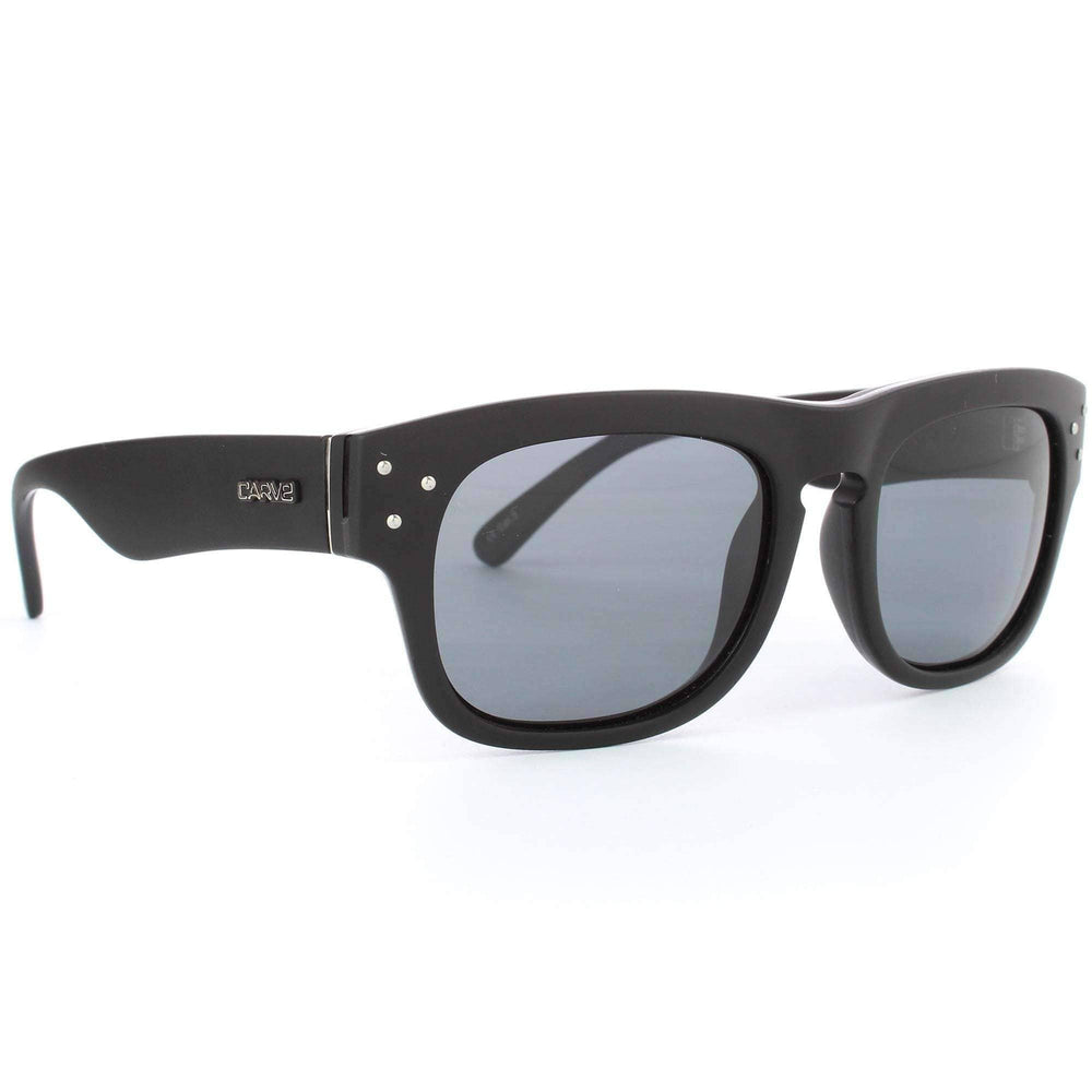 Carve King Cobra Polarised Sunglasses in Matte Black Round Sunglasses by Carve