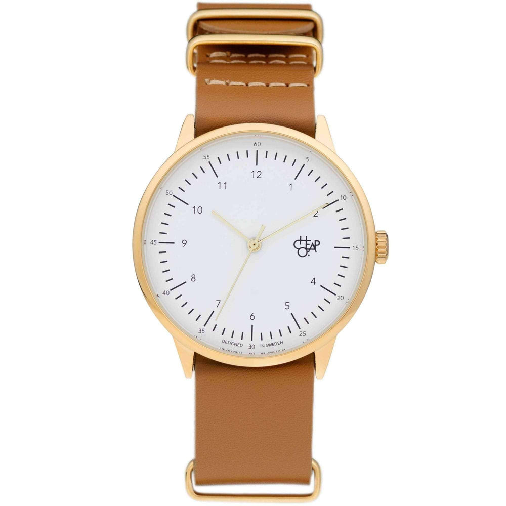 Cheapo Harold Gold Watch, White Dial and Brown Leather Strap Mens Wrist Watch by Cheapo O/S (one size)