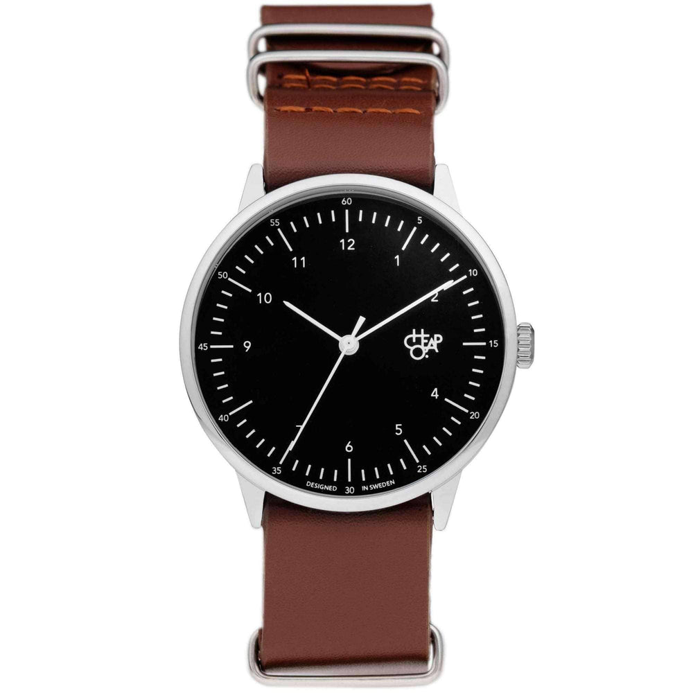 Cheapo Harold Metal Watch, Black Dial and Dark Brown Leather Strap Mens Wrist Watch by Cheapo O/S (one size)
