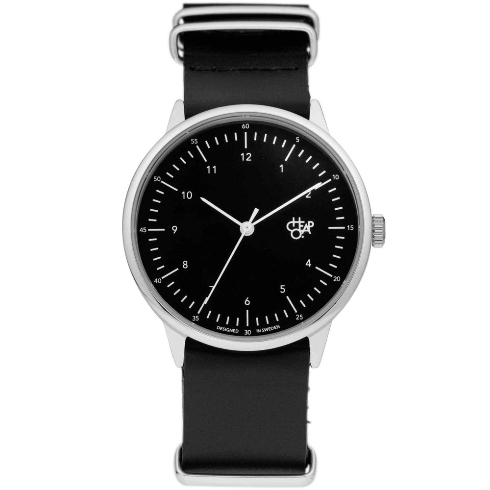 Cheapo Harold Watch, Black Dial and Black Leather Strap Mens Wrist Watch by Cheapo O/S (one size)