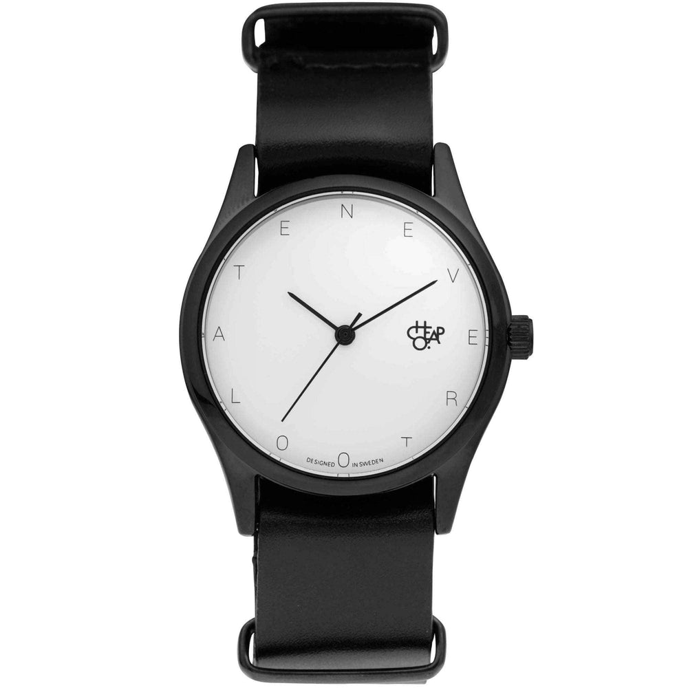 Cheapo Never Too Late Watch with Black Leather Strap Mens Wrist Watch by Cheapo O/S (one size)