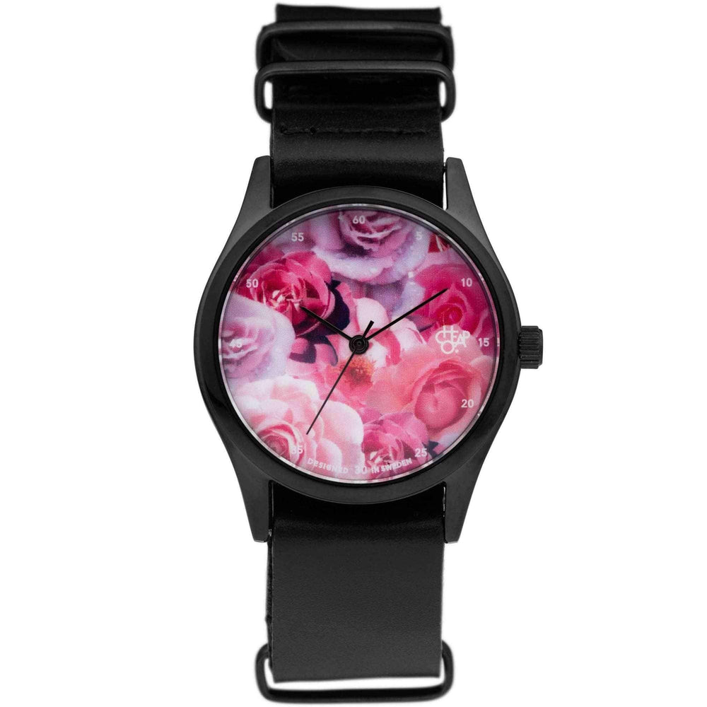 Cheapo Pop Rose Watch with Black Leather Strap Mens Wrist Watch by Cheapo O/S (one size)