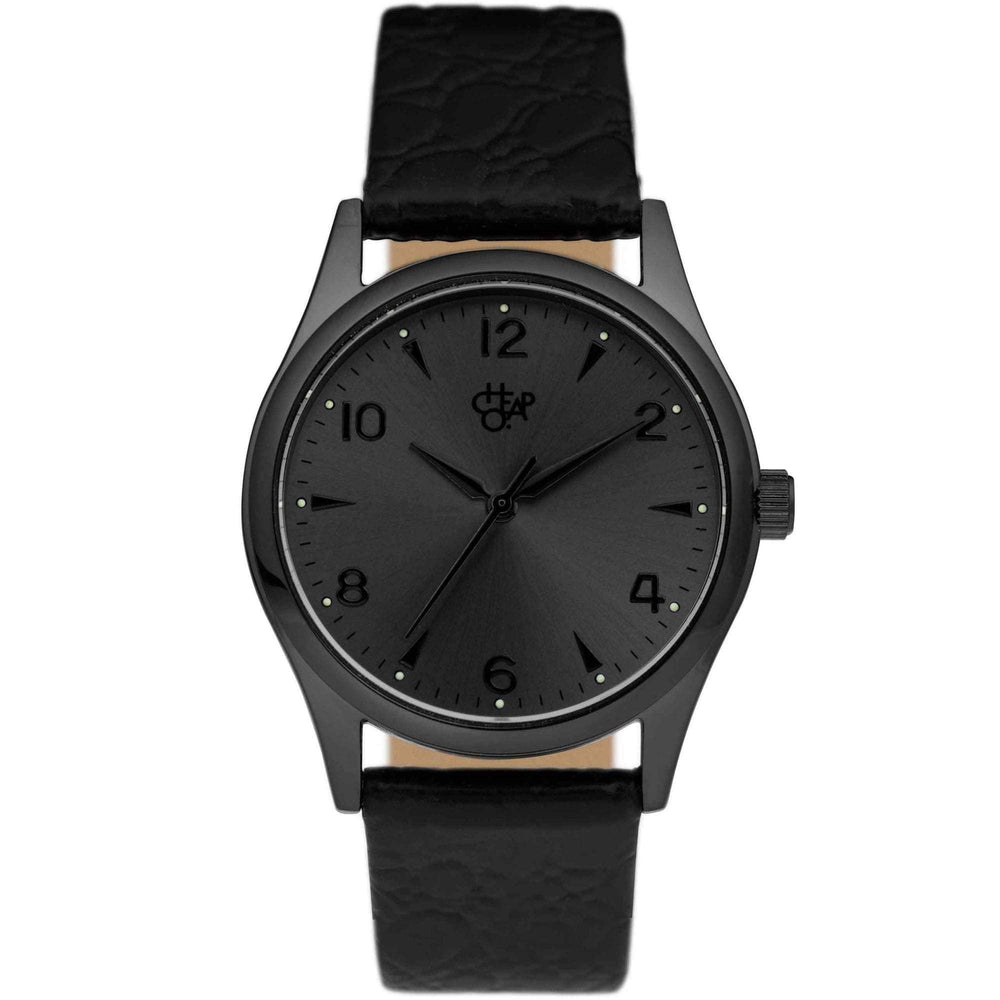 Cheapo Roger Metal Watch, Swedish Metal Dial and Black Leather Strap Mens Wrist Watch by Cheapo O/S (one size)