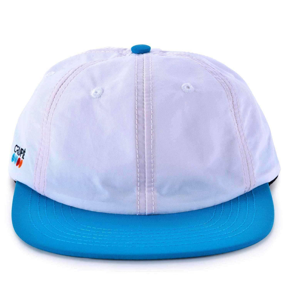 Crupie Dots Snapback 6 Panel Cap in White Blue Snapback Cap by Crupie