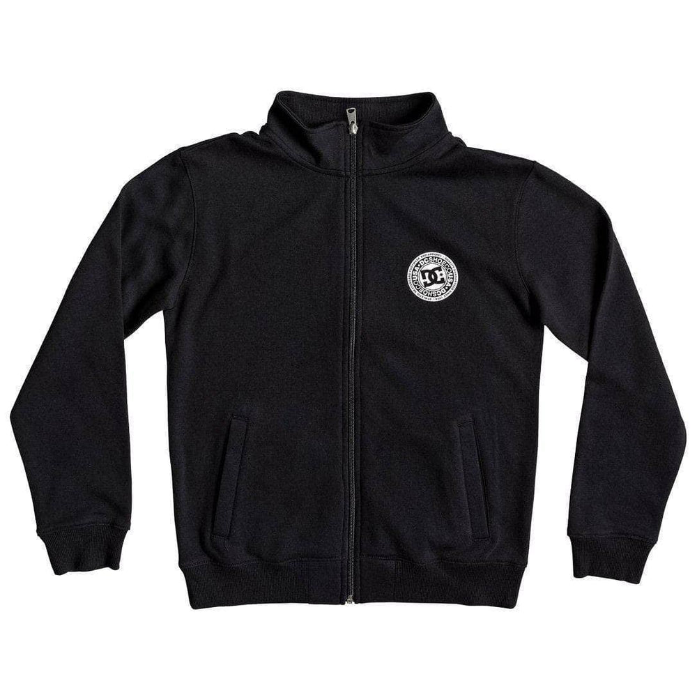 DC Boys Rebel Mock Zip - Black Boys Zip Up Hoodie by DC