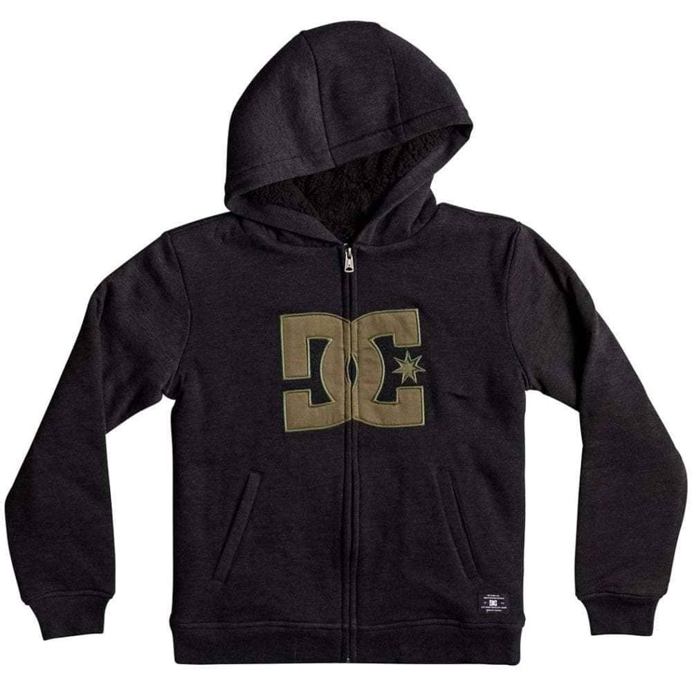 DC Boys Star Sherpa 3 Zip Hood in Black Boys Zip Up Hoodie by DC