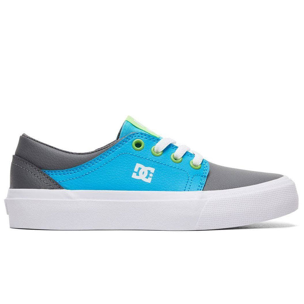 DC Boys Trase SE Skate Shoes - Grey Green Blue Boys Skate Shoes by DC
