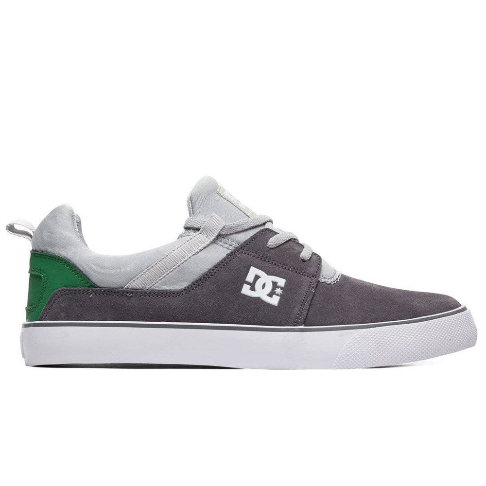 DC Heathrow Vulc Skate Shoes - Grey Grey Green Mens Skate Shoes by DC