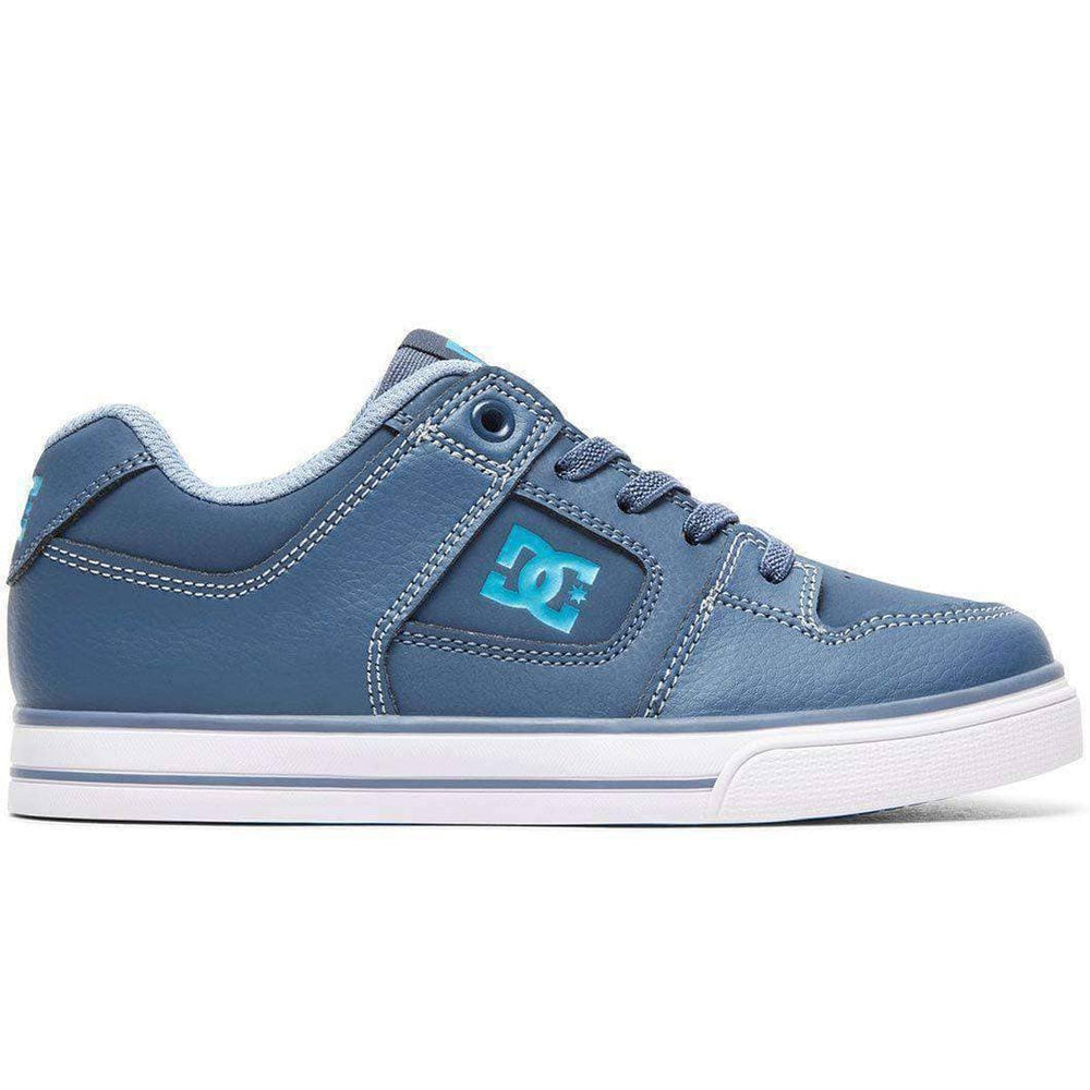 DC Kids Pure Elastic Boys Shoes in Blue Blue Blue Boys Skate Shoes by DC