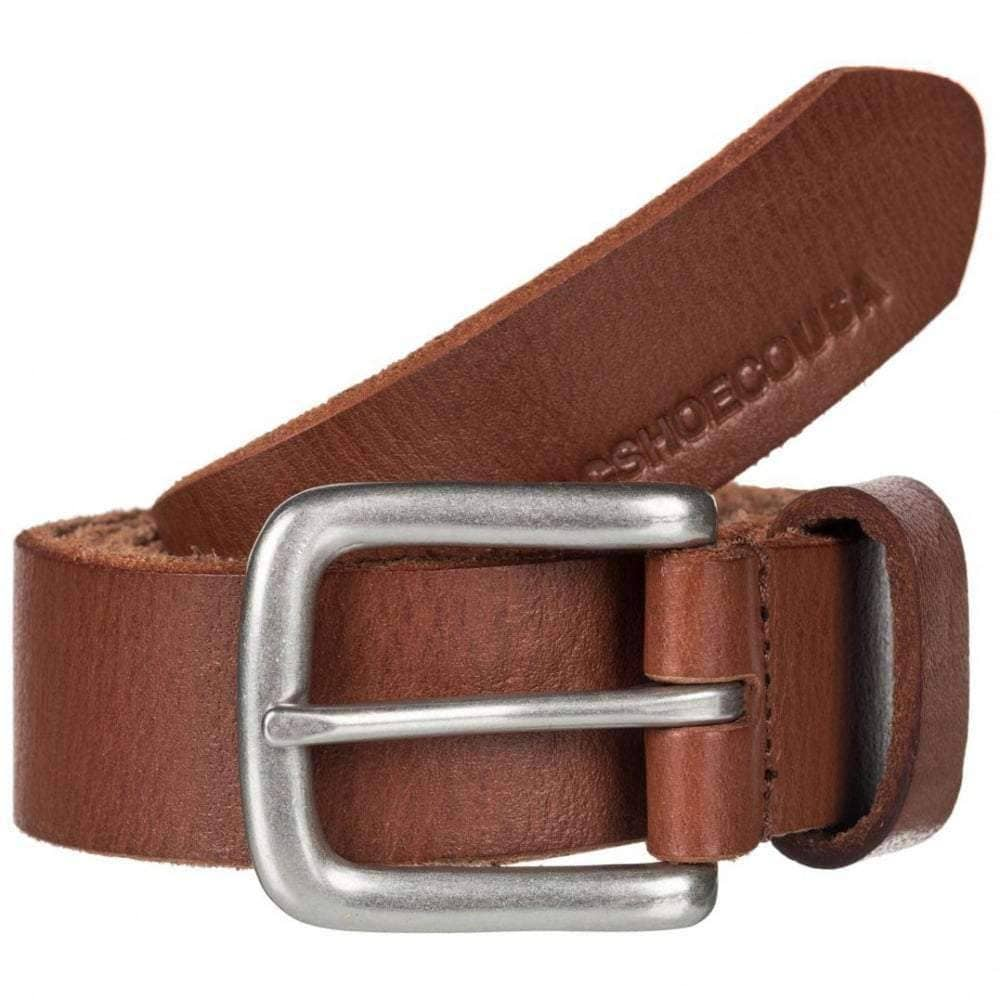 DC Sharp Point Leather Belt in Coffee Bean Mens Leather Belt by DC