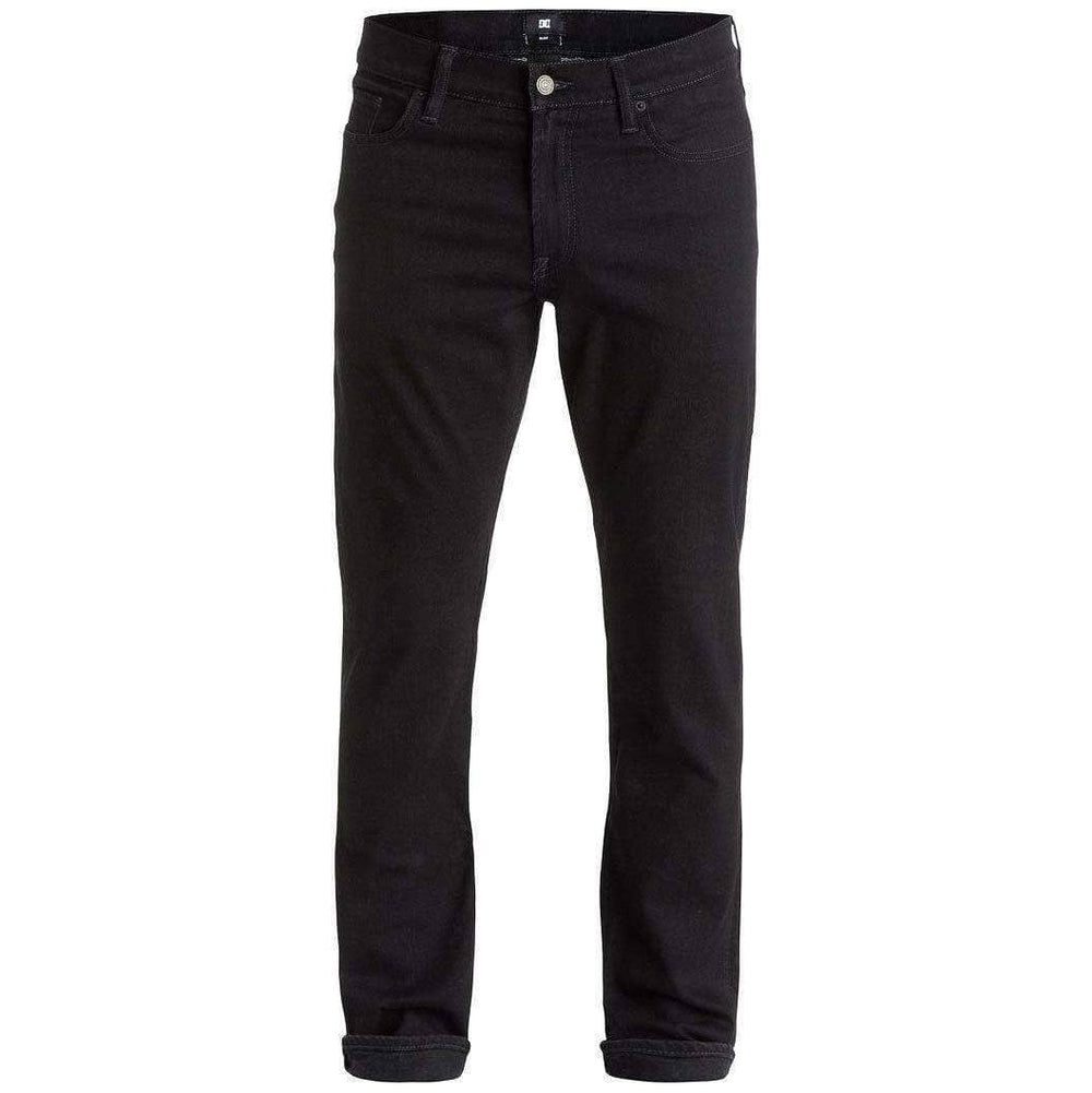 DC Worker Slim Denim Jeans - Black Rinse Mens Slim Denim Jeans by DC