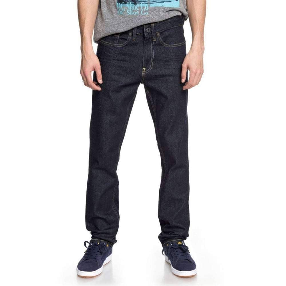 DC Worker Slim Stretch Denim Jeans in Indigo Rinse Mens Slim Denim Jeans by DC