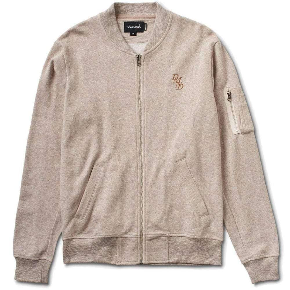 Diamond Supply Co DMND Fleece Bomber Jacket in Sand Mens Casual Jacket by Diamond Supply Co.