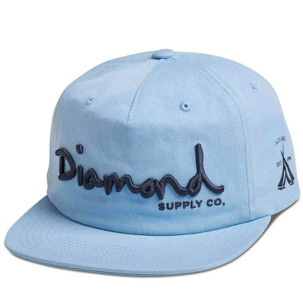 Diamond Supply Co OG Script Unstructured Snapback in Blue Snapback Cap by Diamond Supply Co.