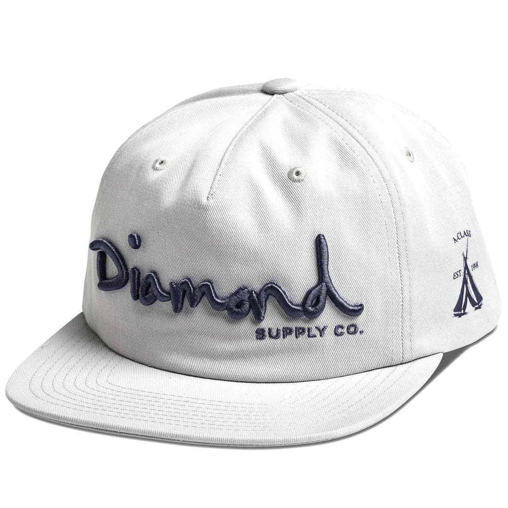 Diamond Supply Co OG Script Unstructured Snapback in White Snapback Cap by Diamond Supply Co.