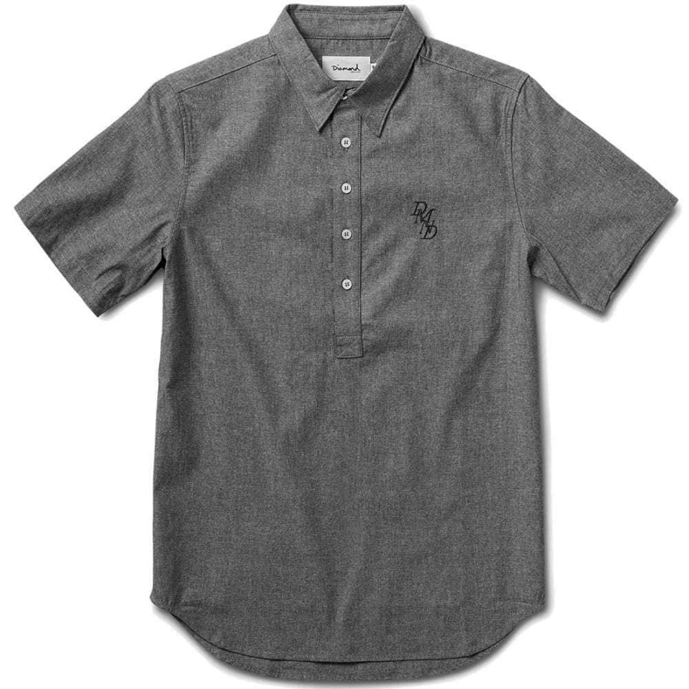 Diamond Supply Co Serif Short Sleeve Chambray Shirt in Black Mens Casual Shirt by Diamond Supply Co.