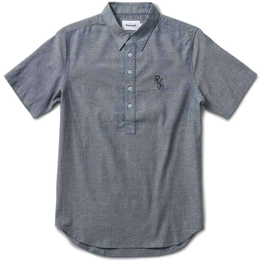 Diamond Supply Co Serif Short Sleeve Chambray Shirt in Navy Mens Casual Shirt by Diamond Supply Co.
