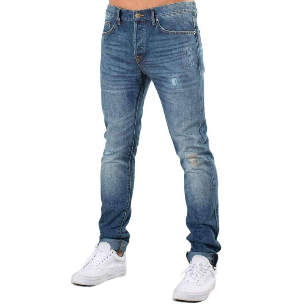 Diamond Supply Co Sk8 Life Skinny Fit Denim in Medium Wash Mens Slim Denim Jeans by Diamond Supply Co.