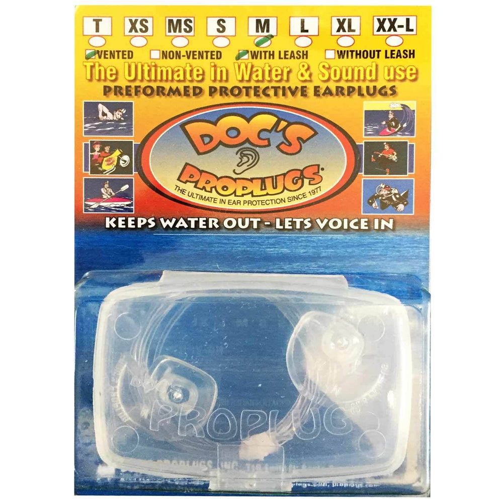 Docs Proplugs Surfing Ear Plugs Docs Proplugs Surf/Swim Earplugs With Leash Clear L (large)