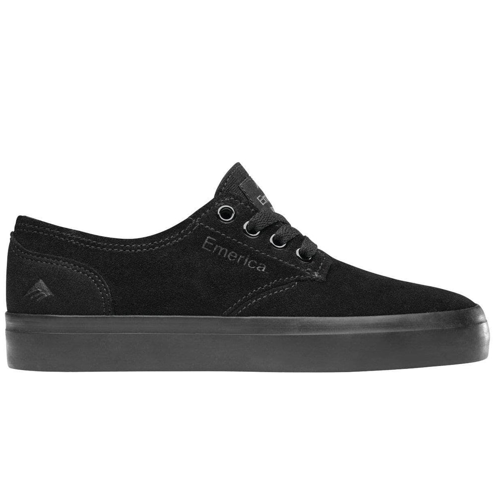 Emerica Kids The Romero Laced Youth Skate Shoes - Black/Black Gum Boys Skate Shoes by Emerica