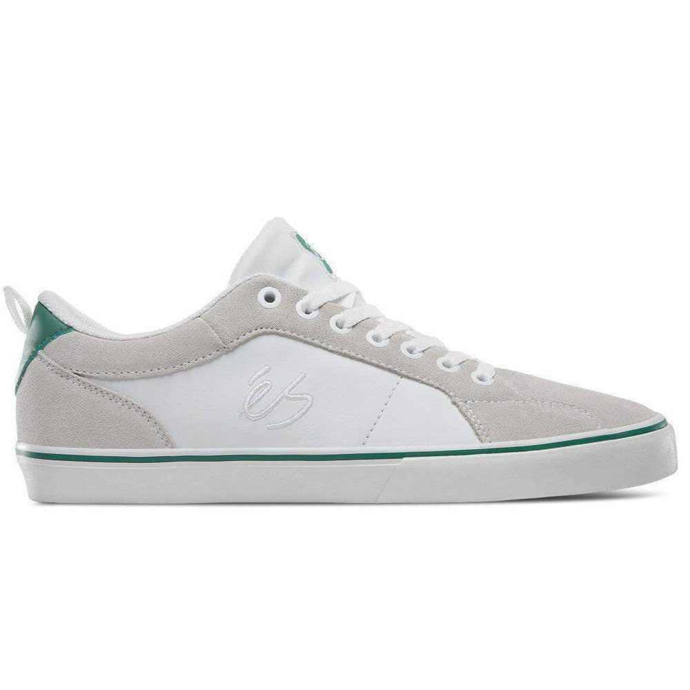 eS Aura Vulc Skate Shoes - White Green Mens Skate Shoes by eS