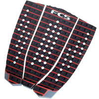 FCS Hipwood Black/Fire Engine Red Tail Pad Surfboard Grip 3 Piece Tail Pad by FCS