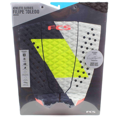 FCS 3 Piece Tail Pad FCS Toledo Coal/Lime Tail Pad Surfboard Grip