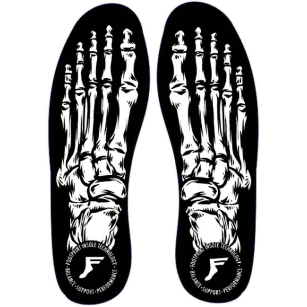 Footprint King Foam Orthotic Skeleton Skateboard Insoles in White Black Orthotic Insoles by Footprint Kingfoam