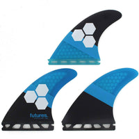 Futures AM1 Honeycomb Thruster Medium Surfboard Fins - Blue Black Futures Single Tab Fins by Futures Medium Fins