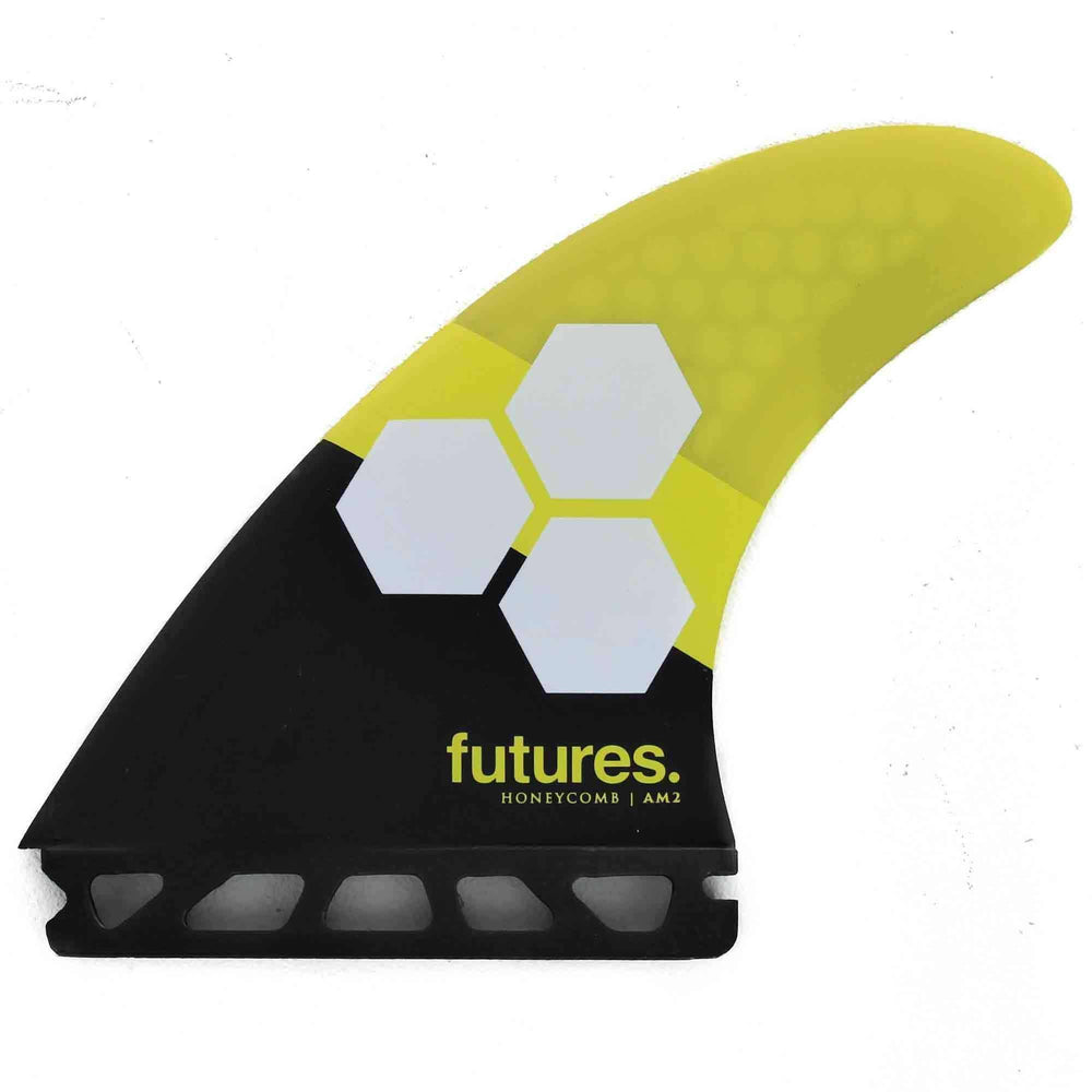 Futures AM2 Honeycomb Thruster Large Surfboard Fins - Yellow Black Futures Single Tab Fins by Futures Large Fins
