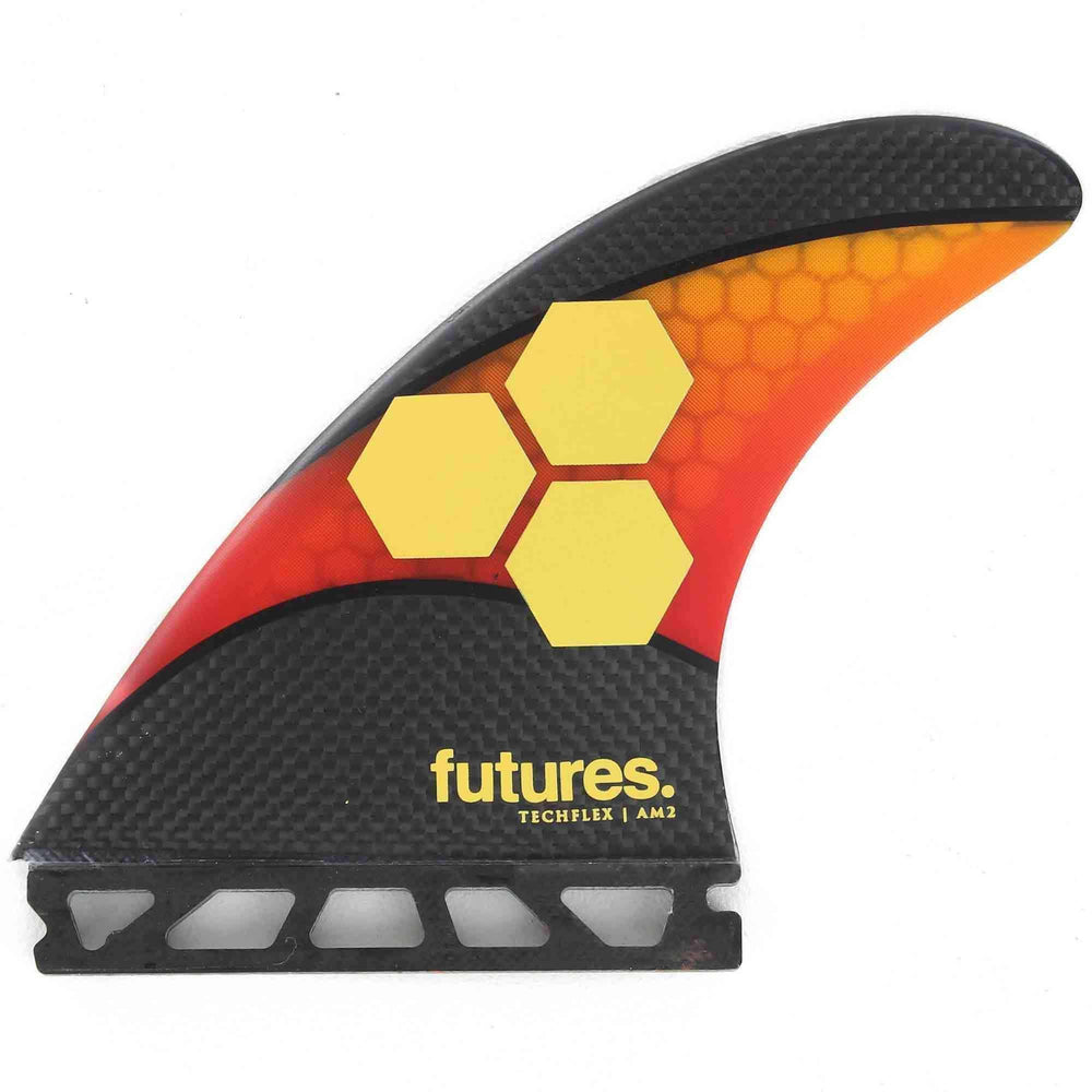 Futures AM2 Techflex Thruster Surfboard Fin Large - Orange Red Futures Single Tab Fins by Futures Large Fins