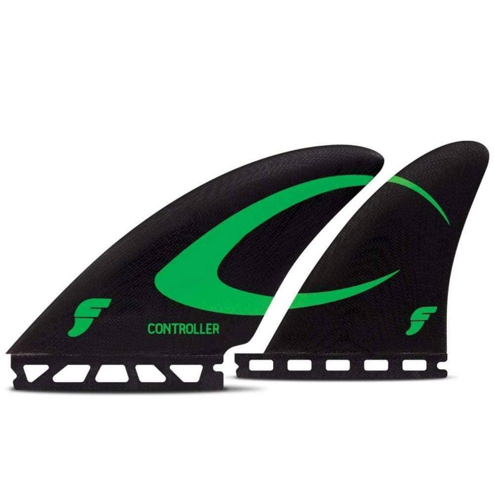 Futures Controller Fibreglass Quad Surfboard Fin Set - Black Green Futures Single Tab Fins by Futures Specialised Fins