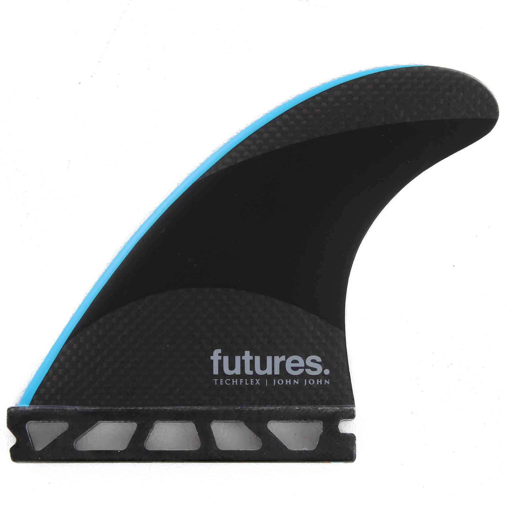 Futures John John Techflex Small Thruster Surfboard Fins - Black Neon Blue Futures Single Tab Fins by Futures Small Fins